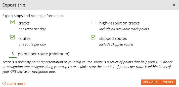 Export | Road Trip Planner | Furkot Help Center