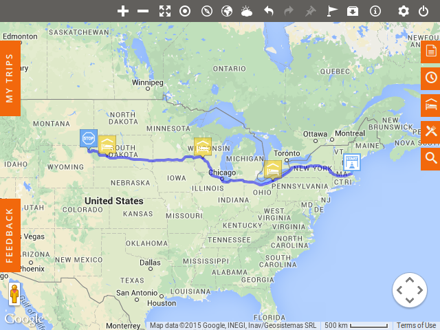 First draft of the planned trip