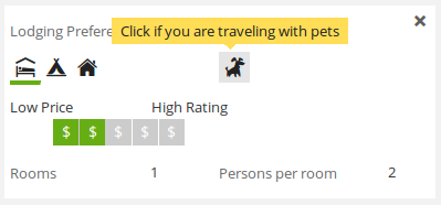 Lodging preferences with Pet Friendly mode toggle