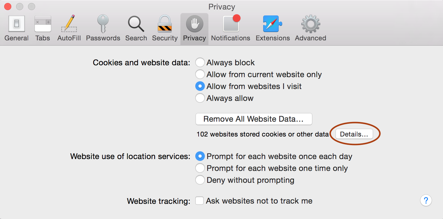 Safari privacy tab