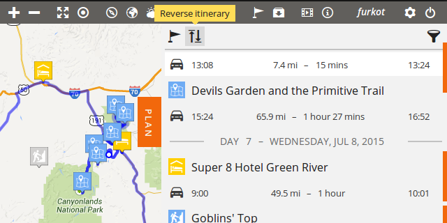 reverse itinerary road trip planner furkot help center